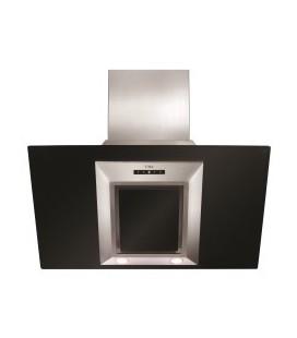 CDA EVG9BL Designer Angled 90cm Chimney Cooker Hood Stainless Steel And Black Glass