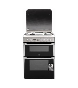 Indesit ID60G2X 60cm Double Oven Gas Cooker in Stainless Steel