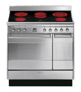 Smeg SUK92CMX9 90cm Dual Cavity Ceramic Range Cooker in Stainless Steel