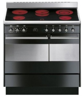 Smeg Concert SUK92CBL9 Double Oven Ceramic Range Cooker - Black